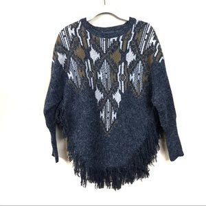 LoveMarks pullover poncho sweater with fringe